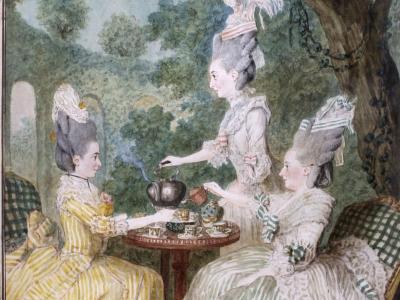 Carmontelle (1717-1806). Mme la Marquise de Montesson, Mme la Marquise du Crest et Mme la Comtesse de Damas prenant le thé dans un jardin . © Musée Carnavalet / Roger-Viollet